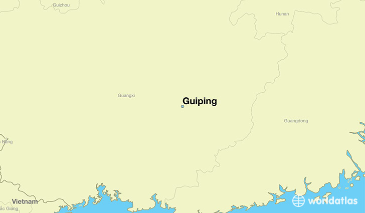 map showing the location of Guiping