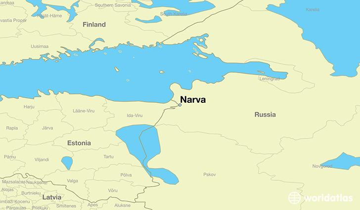 map showing the location of Narva