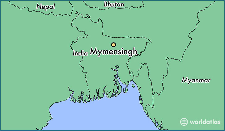 map showing the location of Mymensingh