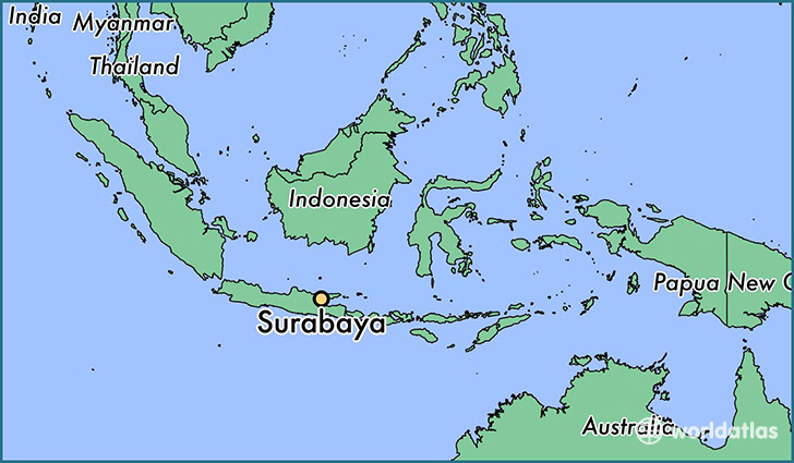map showing the location of Surabaya