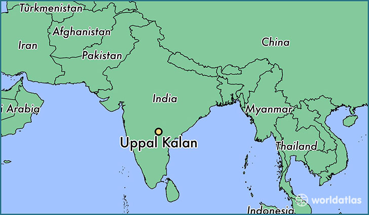 map showing the location of Uppal Kalan