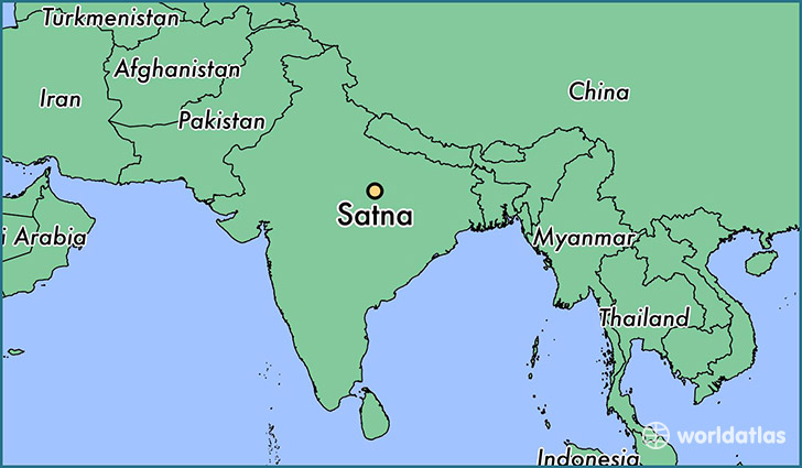 map showing the location of Satna