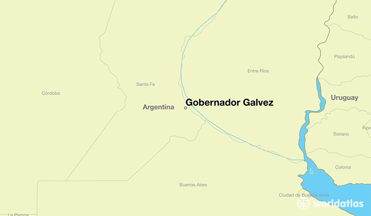 map showing the location of Gobernador Galvez