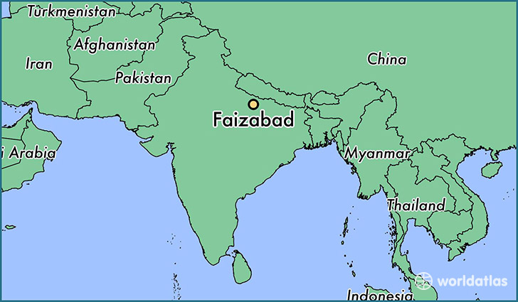 map showing the location of Faizabad