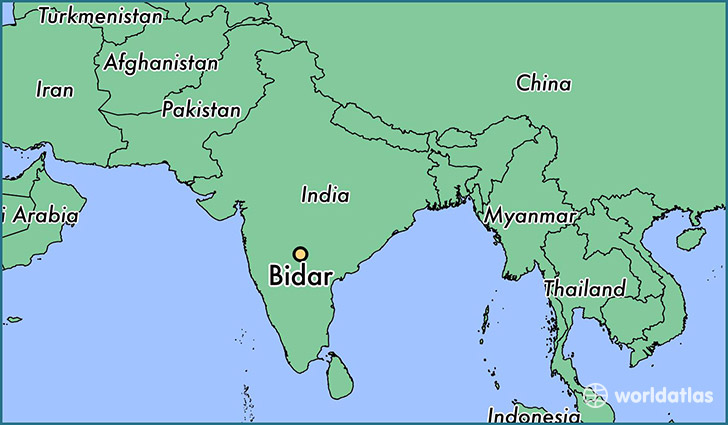 map showing the location of Bidar