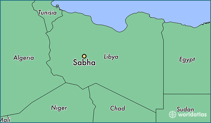map showing the location of Sabha