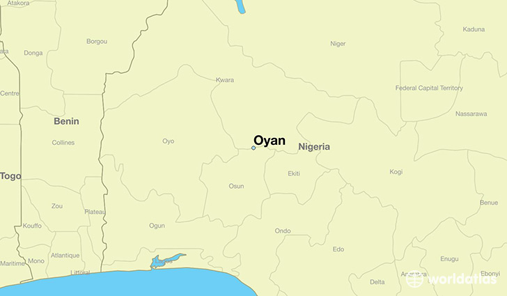 map showing the location of Oyan