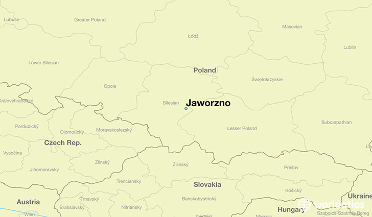 map showing the location of Jaworzno