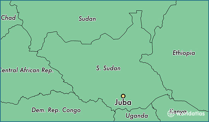 map showing the location of Juba