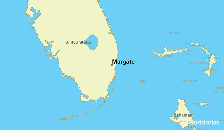 map showing the location of Margate