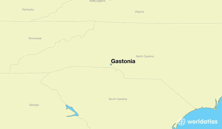 map showing the location of Gastonia
