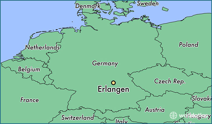 map showing the location of Erlangen