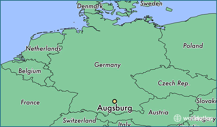 Where is Augsburg Germany Augsburg Bavaria Map WorldAtlascom
