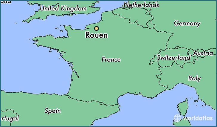 map showing the location of Rouen