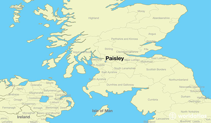 map showing the location of paisley