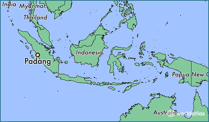 map showing the location of Padang