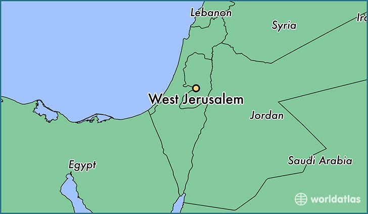 map showing the location of West Jerusalem