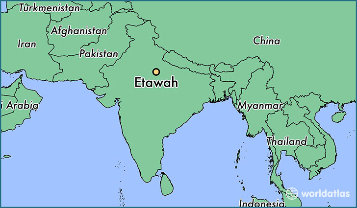 map showing the location of Etawah
