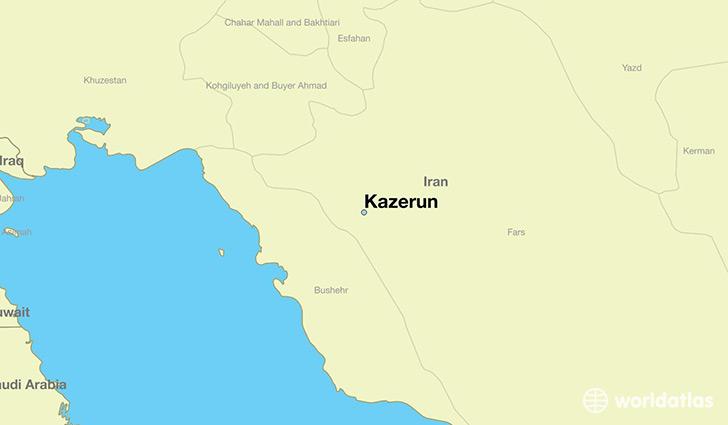 Where is kazerun iran kazerun fars map worldatlas map showing the location of kazerun gumiabroncs Choice Image