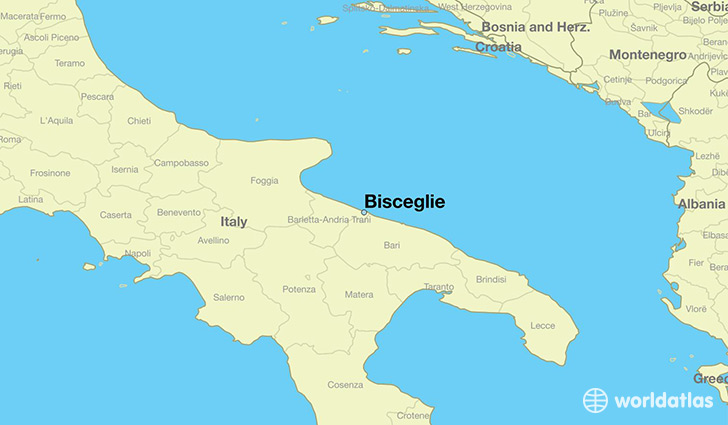 map showing the location of Bisceglie