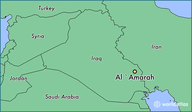 map showing the location of Al `Amarah