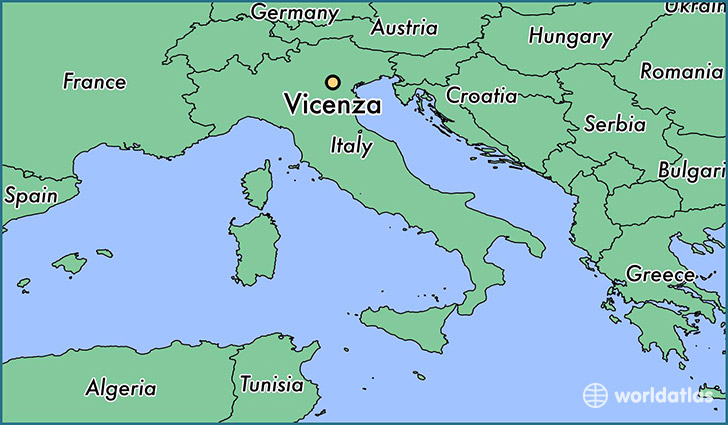 map showing the location of Vicenza
