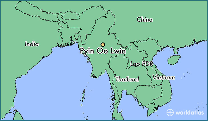 map showing the location of Pyin Oo Lwin