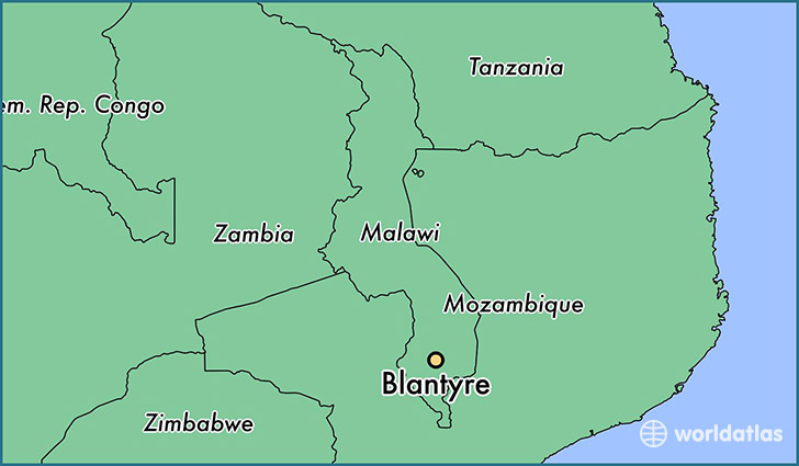 map showing the location of Blantyre