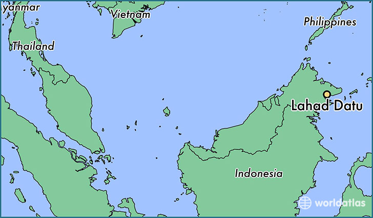 map showing the location of Lahad Datu