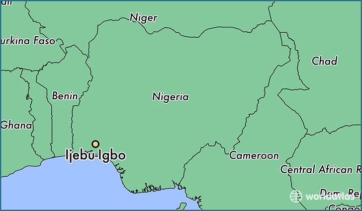 map showing the location of Ijebu-Igbo