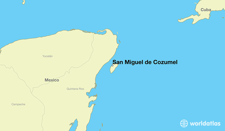 map showing the location of San Miguel de Cozumel