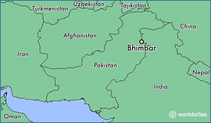 map showing the location of Bhimbar