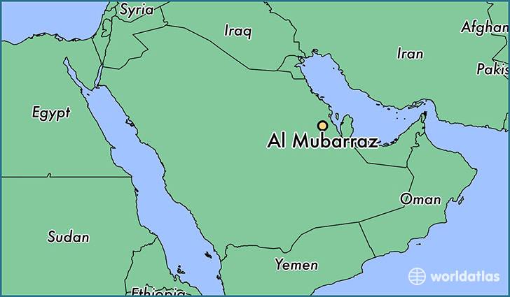 map showing the location of Al Mubarraz