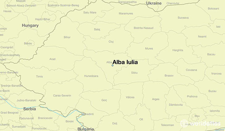 map showing the location of Alba Iulia