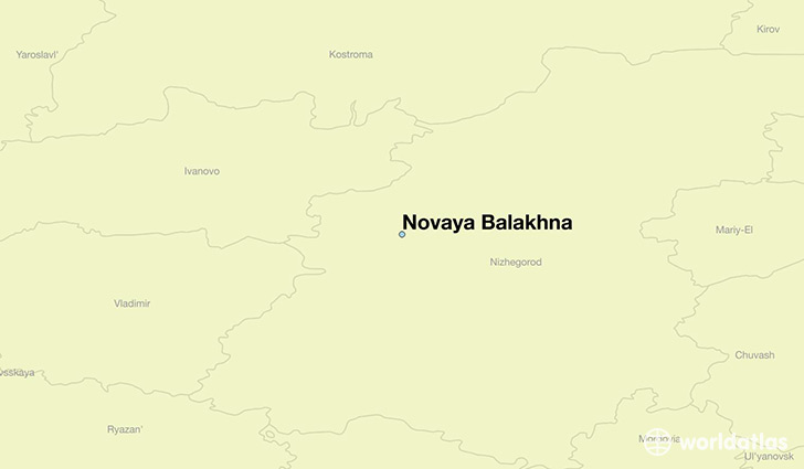 map showing the location of Novaya Balakhna