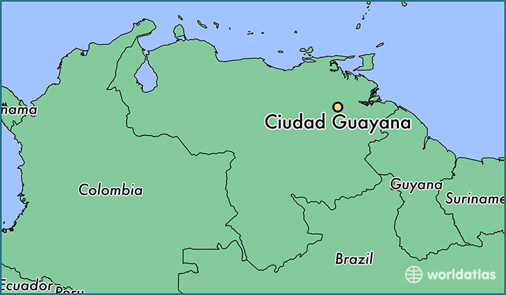 map showing the location of Ciudad Guayana