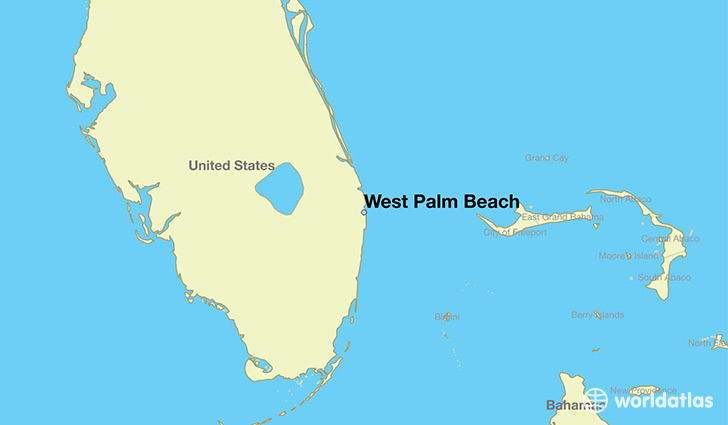 Map Showing The Location Of West Palm Beach