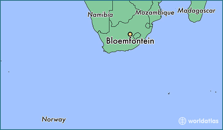 map showing the location of Bloemfontein