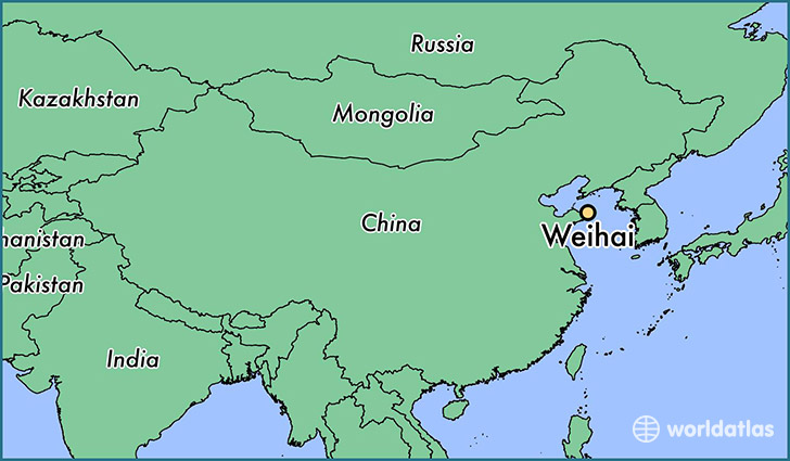 map showing the location of Weihai