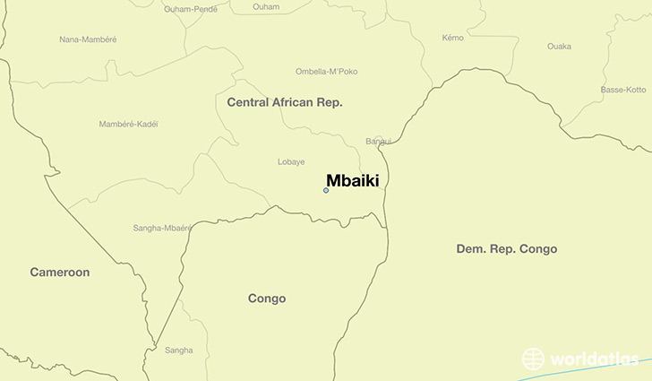 map showing the location of Mbaiki