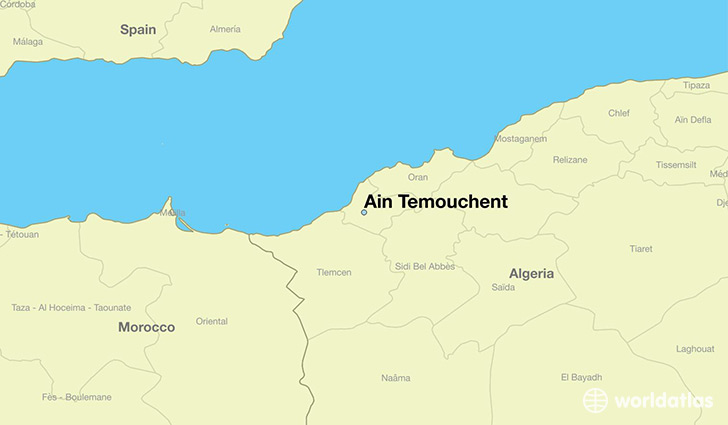 map showing the location of Ain Temouchent