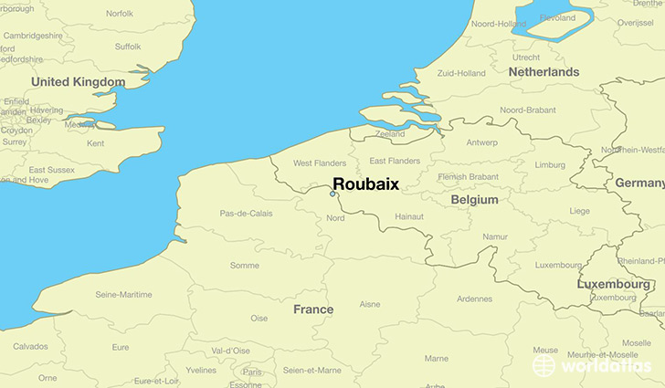 map showing the location of Roubaix