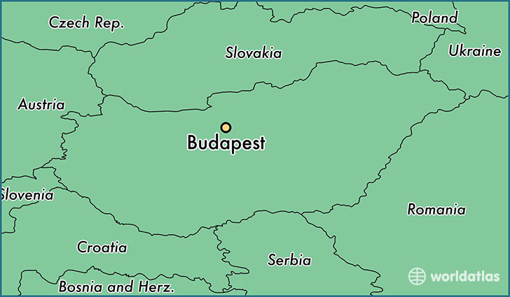 map showing the location of Budapest