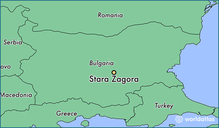 map showing the location of Stara Zagora