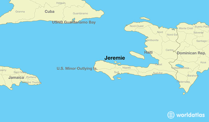 Where is jeremie haiti jeremie grandans map worldatlas map showing the location of jeremie gumiabroncs Choice Image