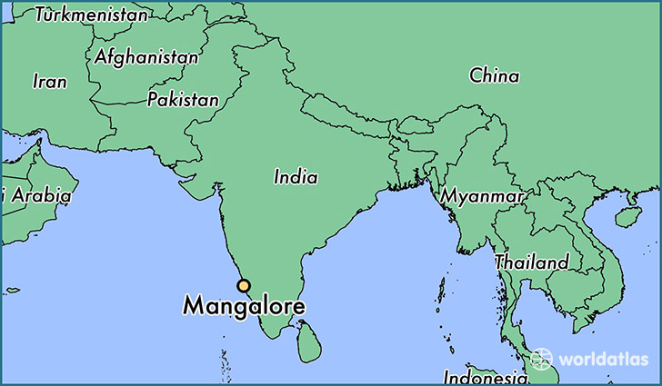 map showing the location of Mangalore