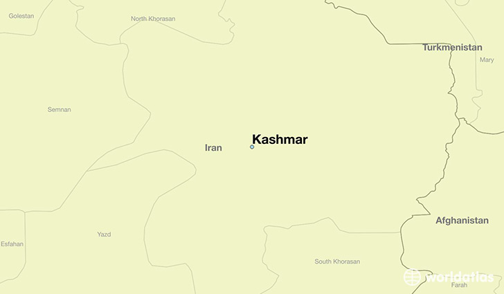 map showing the location of Kashmar