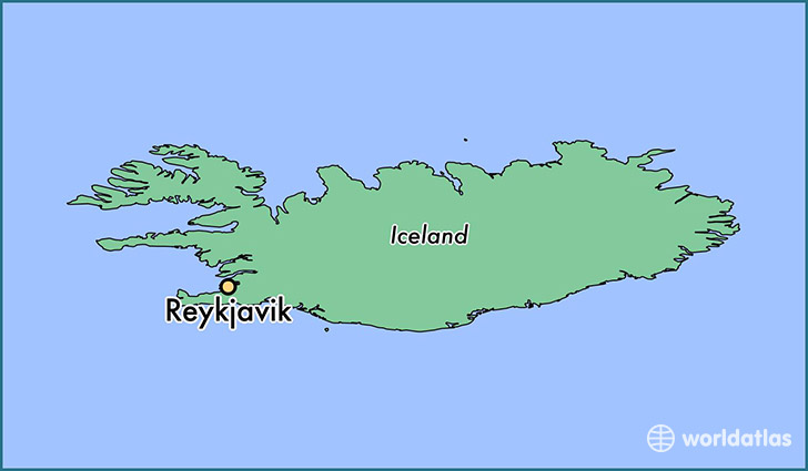 map showing the location of Reykjavik