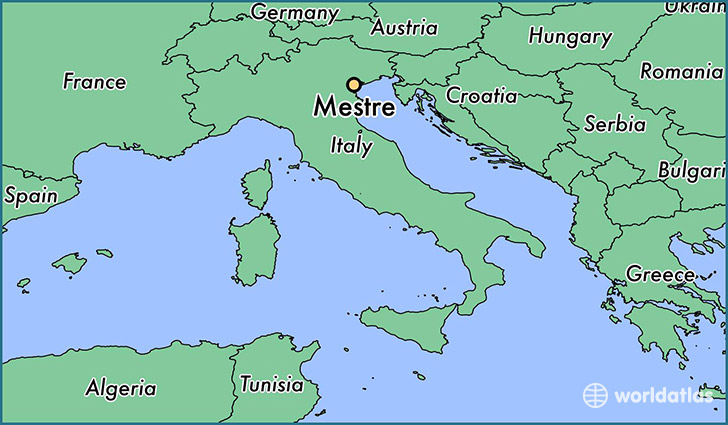 map showing the location of Mestre