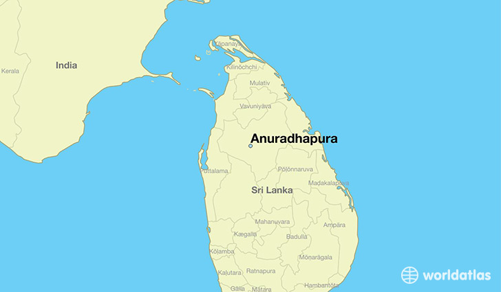 map showing the location of Anuradhapura